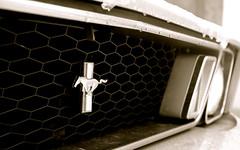 Lumière sur la Mustang (pgauti) Tags: friends bw car noiretblanc pentax collection mustang oldcar 68 insigne orbey pentax1855 k200d justpentax voisture