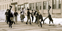 It's the newsies! (LauraDreams) Tags: dance michigan grandrapids filmmaking airband newsies calvincollege
