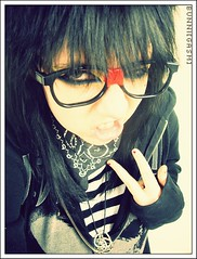 Be Yourself, Immitation is Suicide. (bunni[gasm]) Tags: black nerd dark glasses kid cool colorful pretty awesome scene odd rainbows nerdy