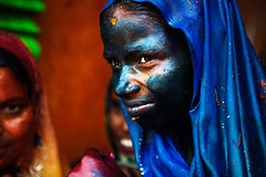 Lady in Blue ( Poras Chaudhary) Tags: blue portrait india colors festival lady colorful expressions holi 2470mm nikond3