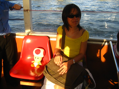 Taking ride on a water taxi