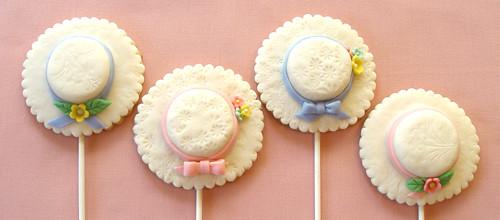 Easter Bonnet Cookie Pops