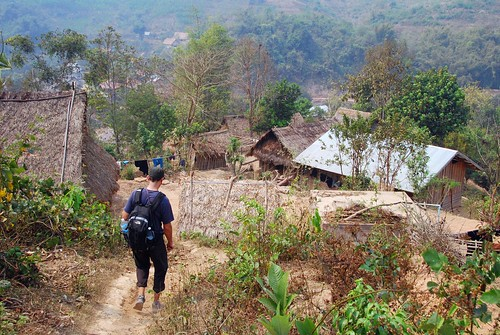 descending into the village, luang nam tha