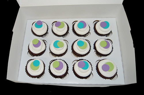 purple lime green and turquoise sassy circles birthday cupcakes