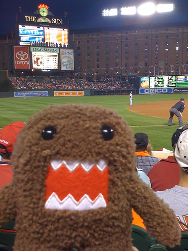 Domo-kun loves Oriole Part at Camden Yards