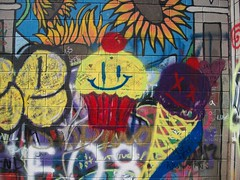 Happy Cupcake Dead Ice Cream Cone (chicalookate) Tags: food art wall graffiti cupcake icecream sunflower