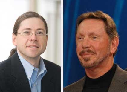 Jonathan Schwartz (izq.) y Larry Ellison