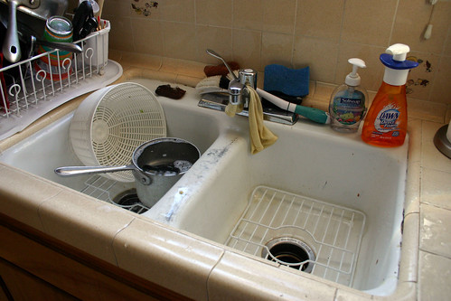 Sink with dirty dishes