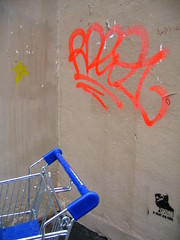 (Gabri Le Cabri) Tags: blue red black paris yellow wall corner silver graffiti stencil banana fluorescent caddie 75011 oxmo paris11 rdeo1