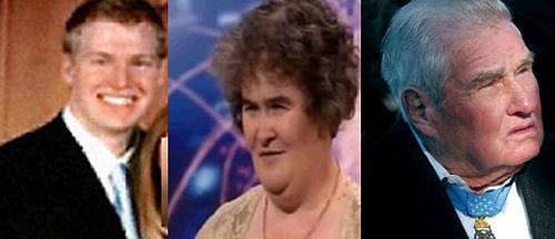 Composite image of Philip Markoff, Susan Boyle, and Russell Dunham