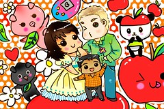 Drawing for PapaMoa (LollipopKizz) Tags: apple drawing tamagotchi pandapple momobuta