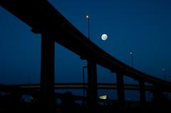 [フリー画像] [人工風景] [建造物/建築物] [月の風景] [夜景] [橋の風景]      [フリー素材]