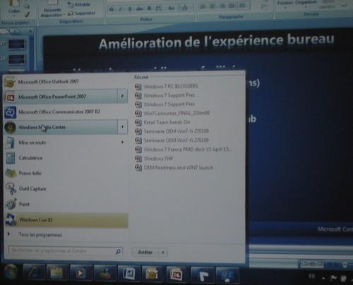 Le menu demarrer : Soirée présentation Windows Seven