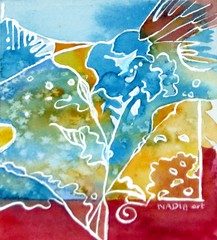 Art: Watercolour: ....fancy flower (Nadia Minic) Tags: blue red white flower art floral interestingness nadia europe gallery aquarelle decoration galerie fancy imagination luxembourg abstractpainting contemporain minic nadiaminic nadiaart abstractwatercolour luxembourgart
