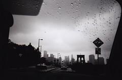 (Cara J Salvaggio) Tags: nyc bw film rain brooklyn 1600 neopan olympusom1 brookylnbridge