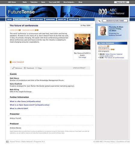 The future of conferences - Future Tense - 14 May 2009 (20090519)