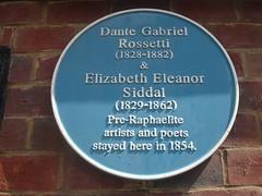 Photo of Dante Gabriel Rossetti and Elizabeth Eleanor Siddal blue plaque