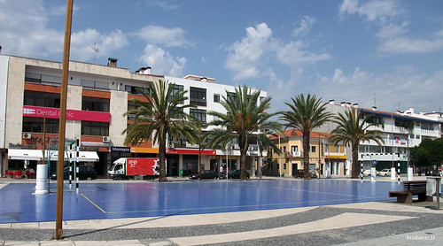 Place with palm trees and sports ground