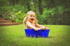 explored. : ) Red, White & Toot. (Laura Fulmer) Tags: summer grass laughing happy toddler pigtails 4thofjuly madeline littlefeet babyinabucket