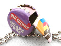Colony whistle (loranscruggs) Tags: green toy tin necklace bottle colorful purple handmade caps joy can soda eco grape whistle pendant recycles glee
