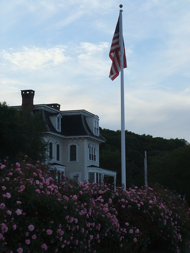 New England home with roses