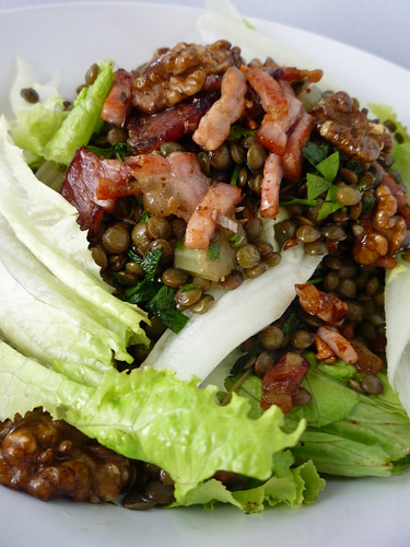 Lettuce, Lentil, Bacon and Walnut Salad by you.