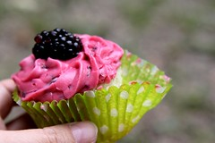 vegan blackberry lime cupcake (massdistraction) Tags: pink summer green minnesota outside cupcakes midwest colorful saturday handheld twincities mn frosting polkadot pinkandgreen veganfoodporn vegancupcakes sheelanamakkal mielyleche mitrebox mitreboxframing eatingcupcakesoutside veganblackberrylimecupcake