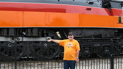 Good guys wear orange. Eddie K and visiting Southern Pacific steam locomotive # 4449. Franklin Park Illinois. Saturday, August 1st 2009.