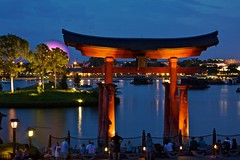 Torii Gate (Don Sullivan) Tags: world japan canon epcot lowlight gate earth lagoon disney spaceship walt showcase torii pavillion lakebuenavista 50d 5stardisneyaward wdwilluminationsfireworks