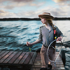upon a distant ripple. (karrah.kobus) Tags: lake net water girl fashion fishing dock waiting waves wind ripple fishingpole braid fishhook