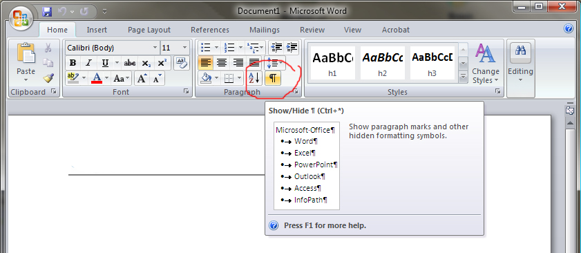 Word 2007 Paragraph Marks Technobabble