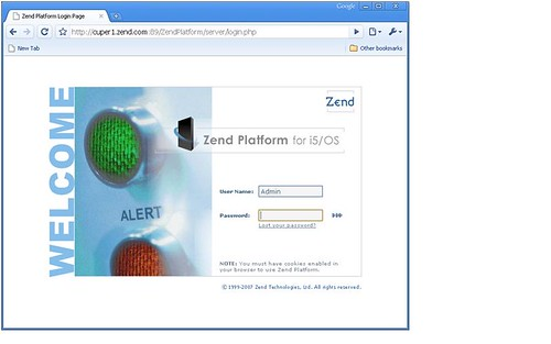 Zend Platform Login Screen 3.6