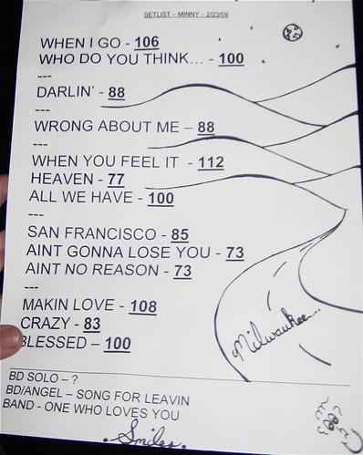 Brett Dennen set list Minneapolis 2/23/09