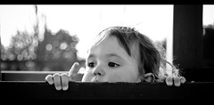 Baby Bokeh (The Lost American In America) Tags: portrait people bw baby white black france girl playground canon hair movie intense bars julie nathan bokeh bretagne 16 babysitting fille rennes nantes petite kellum extremes childcare 30d thelostamericaninfrance