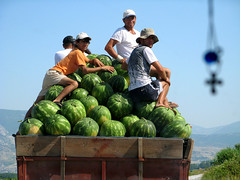 Harvest (Annurgaia) Tags: anna mountain men car truck greek photography dangerous sitting cross farmers harvest hellas watermelon greece grecia pile orthodox griechenland watermelons kavala ellas ellada kreikka hietanen vesimeloni annurgaia annahietanen annahietanenphotography allrightsreservedbyannurgaia