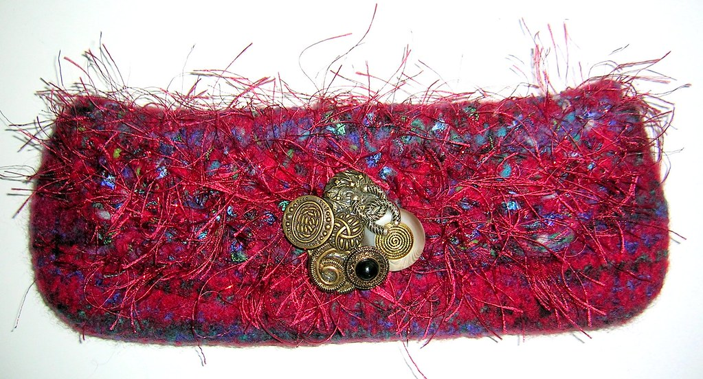 Little Red Felted Clutch Bag