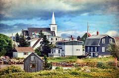 Prospect, Nova Scotia (sminky_pinky100 (In and Out)) Tags: trees houses homes sea canada church clouds boat fishing rocks novascotia coastal canadianflag prospect southshore sheds dwellings personalbest fishingshacks 5photosaday atlanticprovinces omot cans2s eyejewel