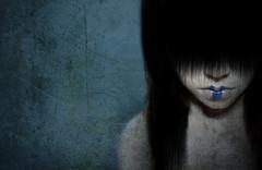 Feeling blue? (JolsAriella) Tags: selfportrait texture girl hair asian ghost makeup creepy teen horror bangs bluelipstick