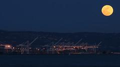 Moon Rise Over the Oakland Shipyards (ScottHampton) Tags: california bridge moon seascape landscape oakland bay ship moonrise sanfranciscobay shipping outdoorphotography