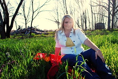(caleb.irvin) Tags: trees red portrait sun green senior girl field grass lens spring nikon kentucky fabric flare d60