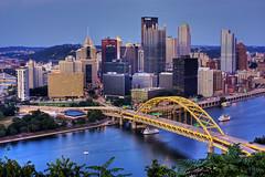 Pittsburgh Skyline HDR (matthewkaz) Tags: city bridge skyline buildings boats downtown pittsburgh skyscrapers pennsylvania 2008 hdr