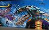 cloudragon (Fat Heat .hu) Tags: blue cloud wall graffiti 3d dragon coloredeffects