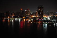 Cairo on Nile (Mohamed Haykal) Tags: travel light tourism gardens night reflections river four 50mm nikon seasons egypt nile cairo mohamed misr qubbah 14g d3x haykal