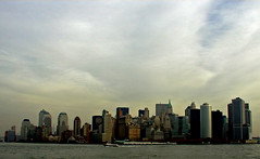 NYC Morning Skyline (PJSherris) Tags: nyc newyorkcity morning sky color water skyline clouds harbor boat olympus olympusc4040z c4040z