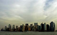 NYC Morning Skyline (PJSherris) Tags: nyc newyorkcity morning sky color water skyline clouds harbor boat olympus olympusc4040z c4040z