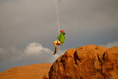 Hangin' Around - Corona Arch, Utah (B.Austin) Tags: sky clouds utah rope climbing moab redrock rockclimbing repelling coronaarch