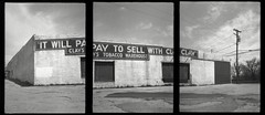 Clay's Tobacco Warehouse (efo) Tags: bw triptych kentucky warehouse mtsterling olympuspens penorama efo:site=1