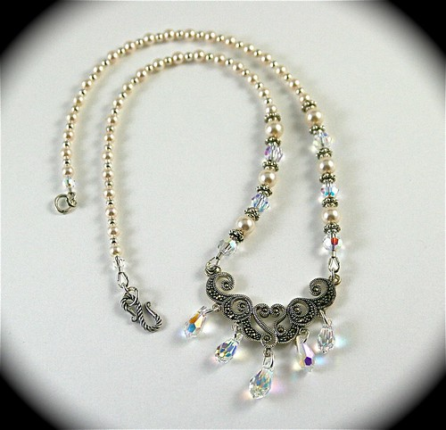 Swarovski Crystal Pearl and Sterling Silver Necklace