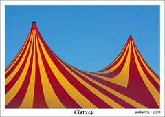 Circus (Ole Houen) Tags: blue red sky colour yellow canon eos colours circus stripe explore colourful 5000 10000 cirkus 5000views ef70300mmf456isusm explored flickrcolour 450d yakkerdk
