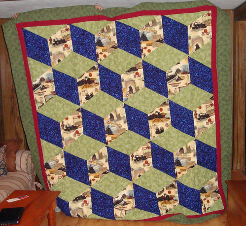 Tumbling blocks quilt with Union Pacific Railroad fabric